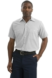 Long Size Short Sleeve Striped Industrial Work Shirt Grey with White Thumbnail