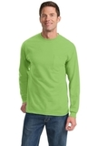 100 Cotton Long Sleeve T-shirt With Pocket Lime Thumbnail