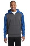 Sport-tek Colorblock Tech Fleece 1/4-zip Hooded Sweatshirt Graphite Heather with True Royal Thumbnail