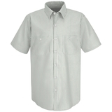 Short Sleeve Industrial Work Shirt With Stripe White Green Stripe Thumbnail