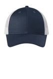 Low-Profile Snapback Trucker Cap Dress Blue Navy Heather with Silver Mist Thumbnail