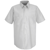 Short Sleeve Industrial Work Shirt With Stripe White Charcoal Stripe Thumbnail