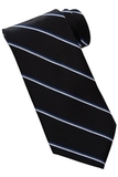 Men's Striped Pattern Tie Black Thumbnail
