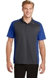 Colorblock Micropique Sport-Wick Polo Iron Grey with True Royal Thumbnail