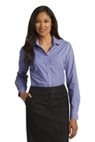 Women's Long Sleeve Gingham Easy Care Shirt Blue with Purple Thumbnail