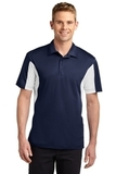 Side Blocked Performance Micropique Polo Shirt True Navy with White Thumbnail