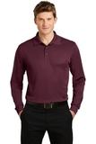 Long Sleeve Micropique Polo Shirt Maroon Thumbnail