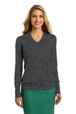 Women's Port Authority V-neck Sweater Charcoal Heather Thumbnail