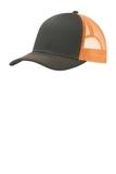 Snapback Trucker Cap Grey Steel with Neon Orange Thumbnail