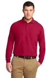 Tall Silk Touch Long Sleeve Polo Red Thumbnail