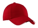 Sandwich Bill Cap With Striped Closure Red with Classic Navy and White Thumbnail