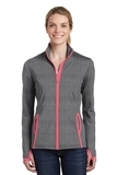 Women's Sport-Wick Stretch Contrast Full-Zip Jacket Charcoal Grey Heather with Hot Coral Thumbnail