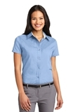 Women's Short Sleeve Easy Care Shirt Light Blue with Light Stone Thumbnail