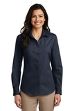Women's Long Sleeve Carefree Poplin Shirt River Blue Navy Thumbnail