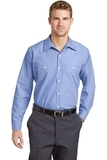 Long Size Long Sleeve Striped Industrial Work Shirt Blue with White Thumbnail