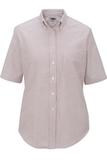 Women's Dress Button Down Oxford SS Burgundy Stripe Thumbnail