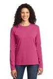Women's Long Sleeve 5.4-oz 100 Cotton T-shirt Sangria Thumbnail
