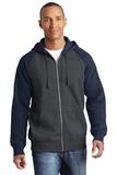Raglan Colorblock Full-Zip Hooded Fleece Jacket Graphite Heather with True Navy Thumbnail