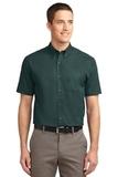 Short Sleeve Easy Care Shirt Dark Green with Navy Thumbnail