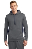Sport-wick Fleece Colorblock Hooded Pullover Dark Smoke Grey with Navy Thumbnail