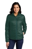 Ladies Packable Puffy Jacket Tree Green with Marine Green Thumbnail