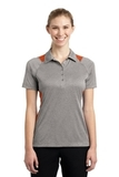 Women's Heather Colorblock Contender Polo Vintage Heather with Deep Orange Thumbnail