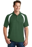 Dry Zone Colorblock Raglan Polo Shirt Forest Green with White Thumbnail