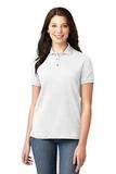 Women's Pique Knit Polo Shirt White Thumbnail