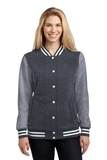 Women's Fleece Letterman Jacket Graphite Heather with Vintage Heather Thumbnail