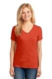 Women's 5.4-oz 100 Cotton V-neck T-shirt Orange Thumbnail