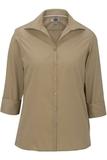 Women's Easy Care Poplin Shirt 3/4 Sleeve Tan Thumbnail