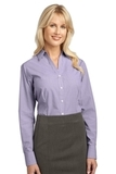 Women's Plaid Pattern Easy Care Shirt Purple Thumbnail