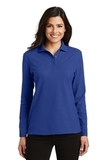 Women's Silk Touch Long Sleeve Polo Shirt Royal Thumbnail