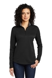 Women's Silk Touch Performance 1/4-Zip Black with Steel Grey Thumbnail