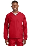 Tipped V-neck Raglan Wind Shirt True Red with White Thumbnail