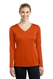 Women's Long Sleeve V-neck Competitor Tee Deep Orange Thumbnail