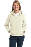 Women's Textured Hooded Soft Shell Jacket Chalk White with Charcoal Thumbnail