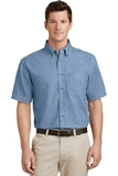 Short Sleeve Value Denim Shirt Faded Blue Thumbnail