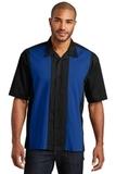 Retro Camp Shirt Black with Royal Thumbnail