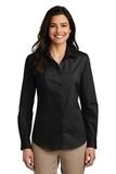 Women's Long Sleeve Carefree Poplin Shirt Deep Black Thumbnail