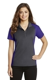 Women's Colorblock Micropique Sport-Wick Polo Iron Grey with Purple Thumbnail