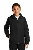 Youth Hooded Raglan Jacket Black Thumbnail