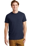 Ultra Blend 50/50 Cotton / Poly T-shirt With Pocket Navy Thumbnail