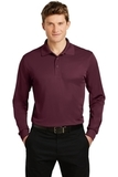 Long Sleeve Micropique Polo Shirt Maroon Thumbnail