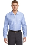 Long Size Long Sleeve Striped Industrial Work Shirt White with Blue Thumbnail