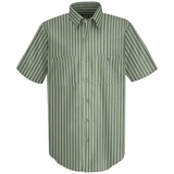 Short Sleeve Industrial Work Shirt With Stripe Green Khaki Stripe Thumbnail
