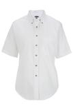 Women's Button Down Poplin Shirt SS White Thumbnail