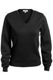 Women's Edwards V-neck Cotton Sweater Black Thumbnail