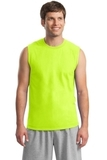 Ultra Cotton Sleeveless T-shirt Safety Green Thumbnail