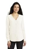 Women's Long Sleeve Button-Front Blouse Ivory Chiffon Thumbnail